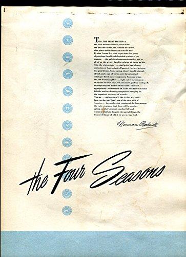 Four Seasons Wall Calendar 1950-Norman Rockwell-4 images-original-VG