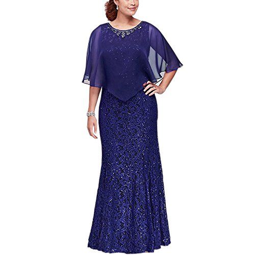 - Ike Chimbandi Full Lace Sheath Sequined Mother of the Bridal Dresses with Cape