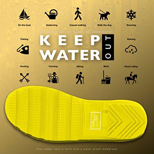 DailyShoes Damen Mittelkalb Kniestrumpf Hunter Regen Round Toe Rainboots Gelb
