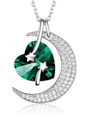 (Emerald Necklace Love Heart Moon May Birthstone Jewelry Birthday Gifts For Women wife daughter Anniversary Gift for Her Sterling Silver