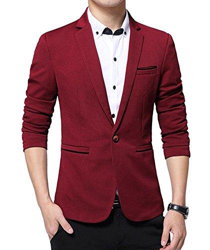 Benibos Men's Slim Fit Casual Premium Blazer Jacket(S, Burgundy)