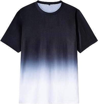 Mr.BaoLong&Miss.GO Camiseta De Moda De Verano para Hombre Nueva Camiseta De Algodón Puro con Cuello Redondo Y Teñido Anudado En Blanco Y Negro: Amazon.es: Ropa y accesorios