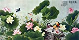 Asian Art Japanese Wall Art Decor Canvas Prints Canvas Art Love Birds Lotus Flower