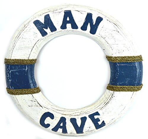 Hand Carved Man Cave Buoy Life Saver Ring Tender Ship Carved Wood Hang Mask