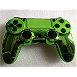 Replacement Chrome Plating Housing Shell Parts Case Kit Cover for PS4 Controller DualShock 4 Color Green