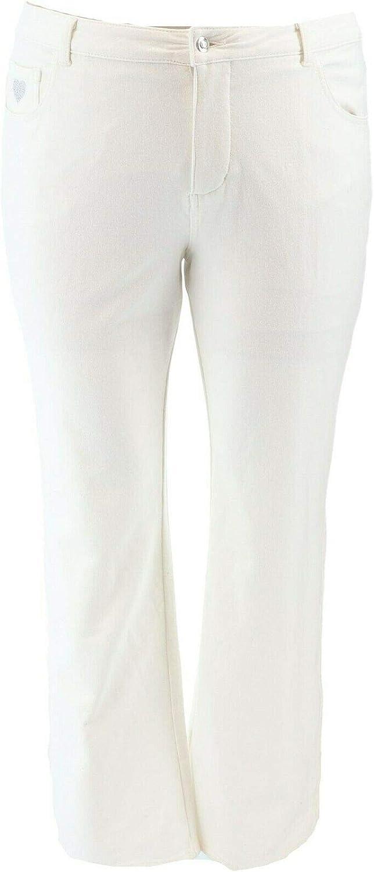 Quacker Factory Bleach Embroidered Sunflower Straight Leg Denim Pants New