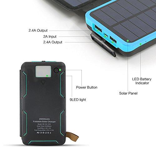 X-DRAGON 20000mAh Portable Solar Charger Power Bank with 5