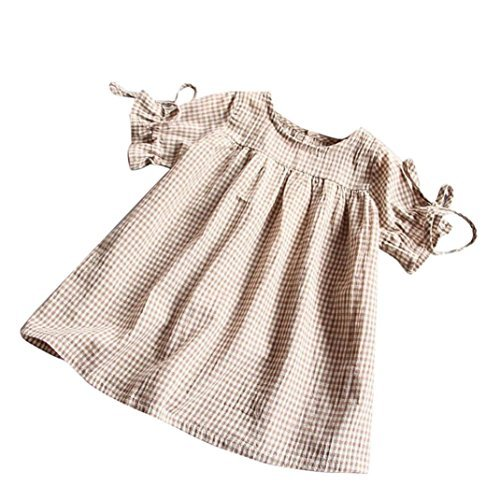 Muxika Summer Toddler Kids Baby Girl Bowknot Plaid Tops Party Princess Mini Dresses (2-3T, Khaki)