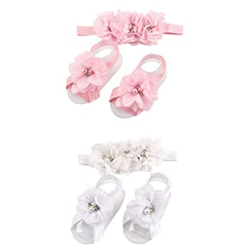 cd399fab37bf7c Amazon.com   2 Colors Baby Girl Flower Headbands Baby Sandals Set Baby Hair  Accessories for Newborns Toddlers Photo Props White and Pink   Beauty