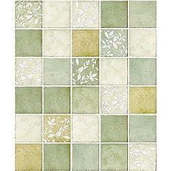 Green Multi Color Mosaic Pattern Contact Paper Self-adhesive Peel-stick Vinyl Wallpaper