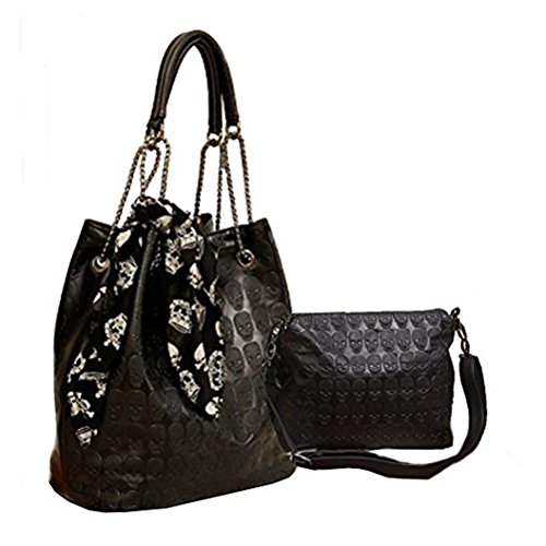 Abuyall A Black In Shoulder 2 Print Crossbody Handbag Leather Pu Skull With 1 Womens Gift Hobo Tote Punk rxU4qTr