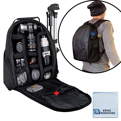 eCost BKP457 Deluxe Camera/Video Padded Backpack for SLR / DSLR Cameras with Microfiber Cloth