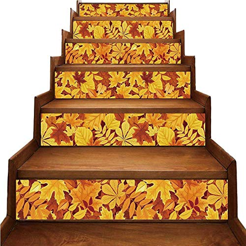 TecBillion Autumn Nice Stairs Sticker,Shady Fall Oak Maple Tree Leaves on Faded Tones Seasonal Foliage Artwork for Home,39.3