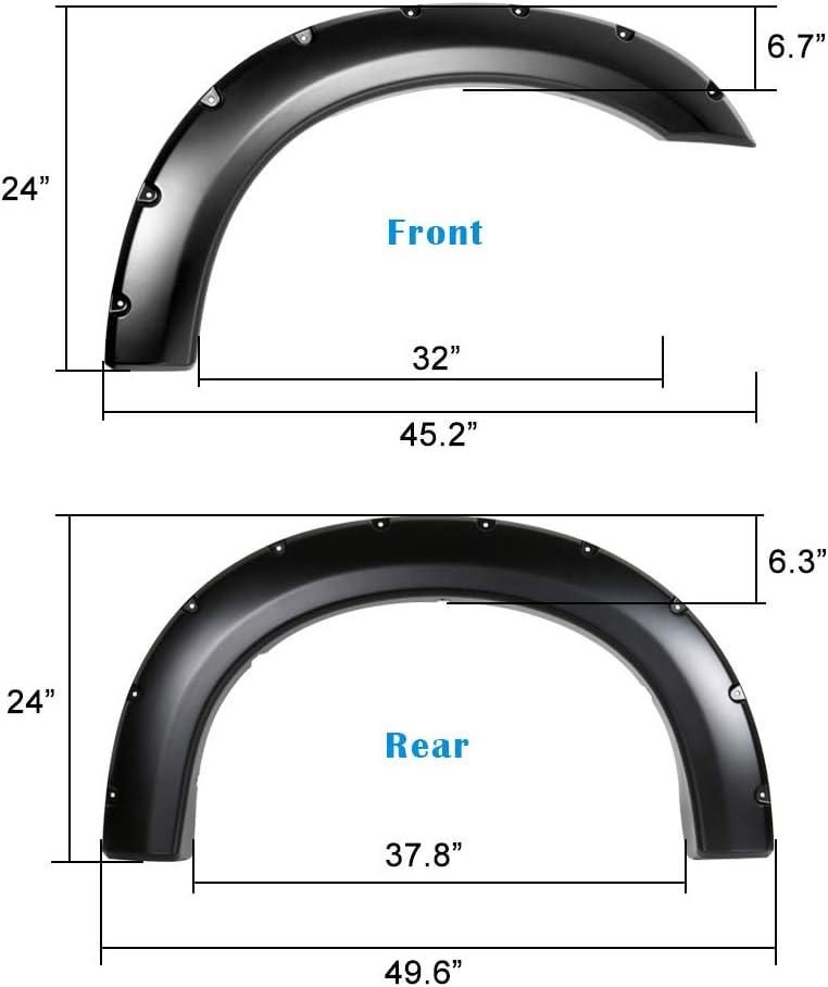 APS Injection Moulding Pocket Rivet Style Impact Resistance Polypropylene Fender Flares Custom Fit 1999-2007 Ford F-250 F-350 Super Duty Standard Bed 6.5ft /& Long Bed 8ft
