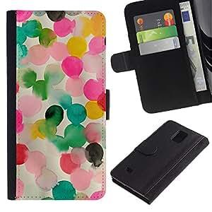 KingStore / Leather Etui en cuir / Samsung Galaxy Note 4 IV / Rosa Madre Niños mamá Niño