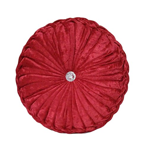 TMJJ Round Solid Color Velvet Chair Cushion Couch Pumpkin Throw Pillow Home Decorative Floor Pillow (Red Round Pillow)