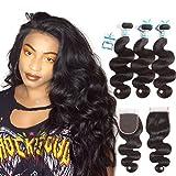 Brazilian Body Wave Bundles with Closure (20 22 24 + 20 Free Part) 8A 100% Unprocessed Virgin Human Hair 3 Bundles with 4×4 Lace Closure Natual Color Hair Bundles Lakihair Review