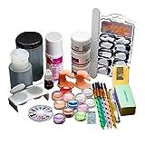 Yoyorule 18 Acrylic Nail Art Tips Powder Liquid Brush Glitter Clipper Primer File