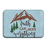Hongclever Door Floor Mat Rug Anti-Skid Foot Pad Faith Can Move, Mountains Water Absorption Doormats For Home Bathroom