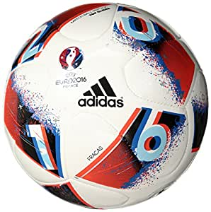 adidas Performance Euro 16 Glider Soccer Ball, White/Bright Blue/Solar Red/Silver Metallic, Size 1