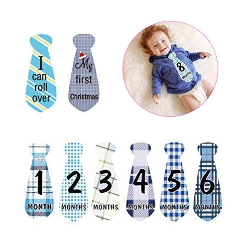 - Milestone Stickers Necktie Tie Baby Boy Monthly Stickers 24 Pack,12 Months+ 12 Holidays,Bonus Achievement Stickers -Unique Baby Shower Gifts or Scrapbook Photo Keepsake Newborn Photography Props
