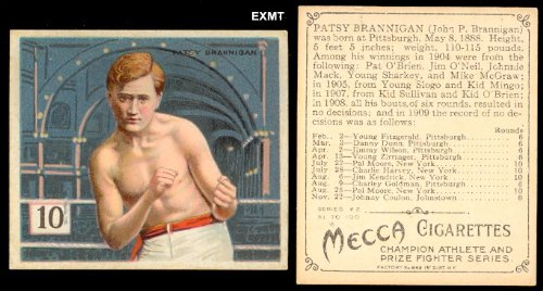 1910 T218 Regular (Boxing) Card# 3 patsy brannigan VGX Condition