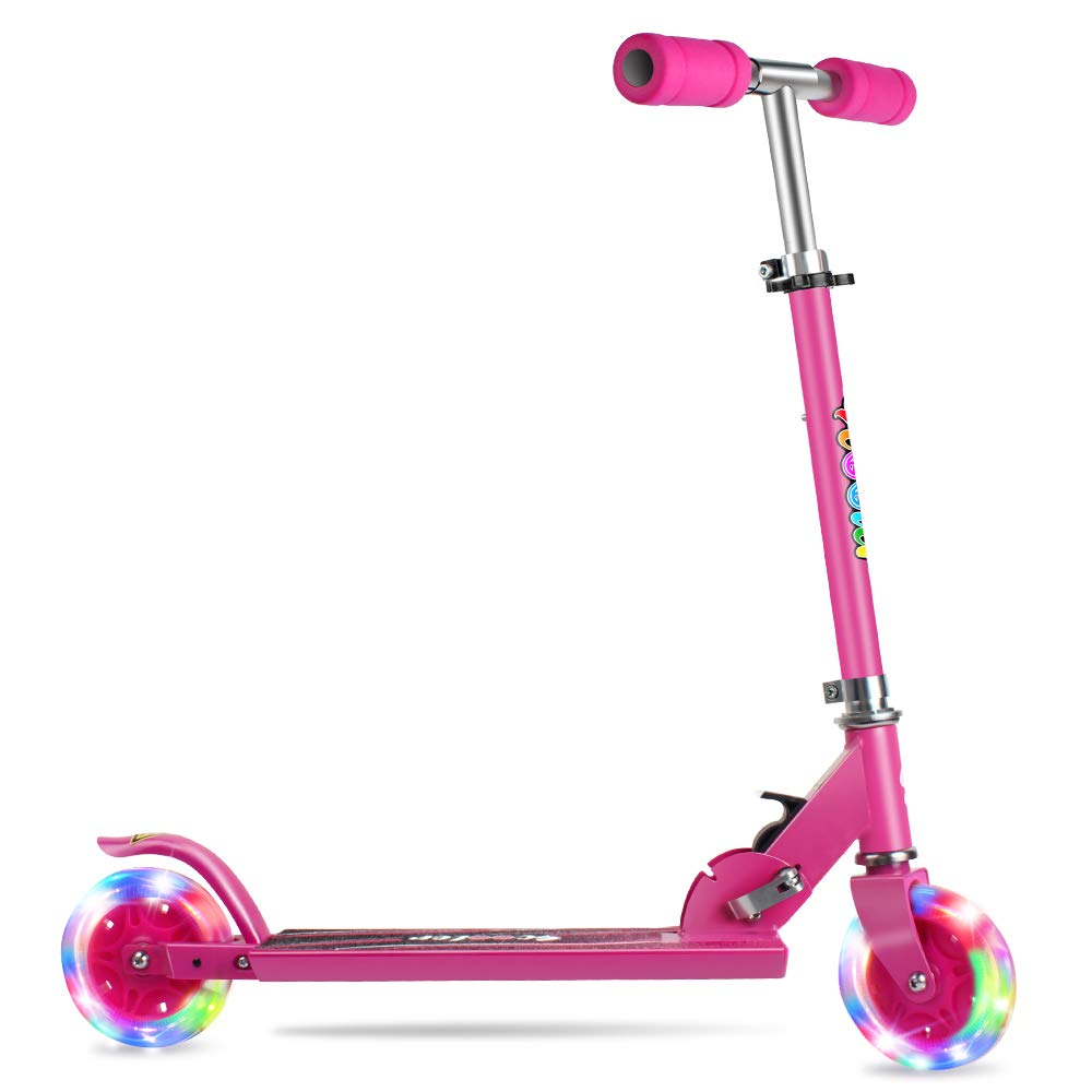 BELEEV Folding Kick Scooter for Kids 2 Wheel Scooter for Girls Boys, CSPC&ASTM Safety Certified, 3 Adjustable Height, PU LED Light Up Wheels for Children 4 Years and up (Rose Pink) by BELEEV
