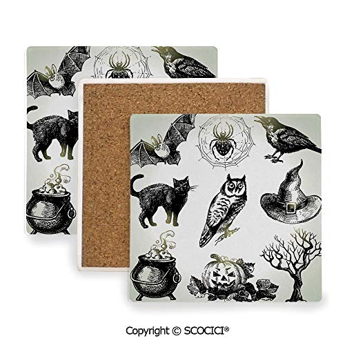 Ceramic Coasters with Cork Base, Prevent Furniture from Dirty and Scratched, Suitable for Kinds of Mugs and Cups,Vintage Halloween,Halloween Related Pictures Drawn by Hand,3.9