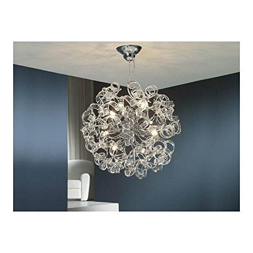 Schuller Spain 542013I4L Modern, Art Deco Chrome Hanging Ceiling Light Pendant alabaster 8 Light Dining Room, Living Room Crystal | ideas4lighting by Schuller