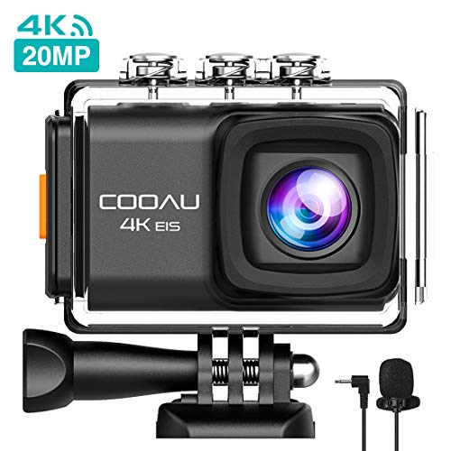 COOAU 4K Action Camera Cam Underwater 30M Waterproof, Sport Bike Motorcycle Helmet Camera with Ultra HD Panasonic CMOS Sensor, 170°Wide Angle, Mounting Accessories Kit and Portable Bag