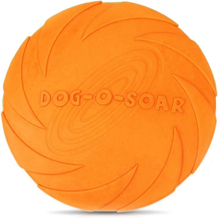JieGuanG Frisbee - Juguete de goma elástica para perros y gatos pequeños, medianos, color naranja