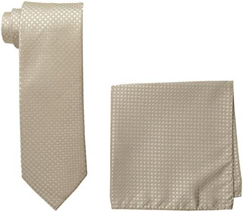 Steve Harvey Men's Neat Solid Necktie and Neat Solid Pocket Square