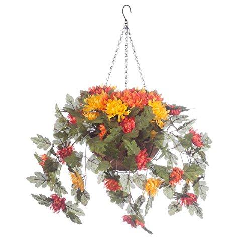 OakRidge Fully Assembled Artificial Mum Hanging Basket, Multi, 10