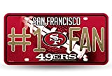 bling 49ers license plate frame - Rico NFL San Francisco 49ers #1 Fan Metal License Plate Tag with Glitter Accent