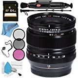Fujifilm XF 14mm f/2.8 R Ultra Wide-Angle 16276481 + 58mm 3 Piece Filter Kit + 64GB SDXC Card + Lens Pen Cleaner + Fibercloth + Lens Capkeeper + 70in Monopod + Deluxe Cleaning Kit Bundle
