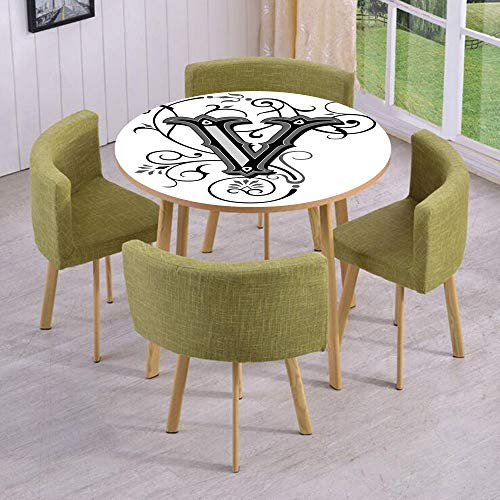 iPrint Round Table/Wall/Floor Decal Strikers/Removable/Gothic Halloween Style Uppercase V with Curved Lines Ivy Stripes Calligraphy Decorative/for Living Room/Kitchens/Office Decoration