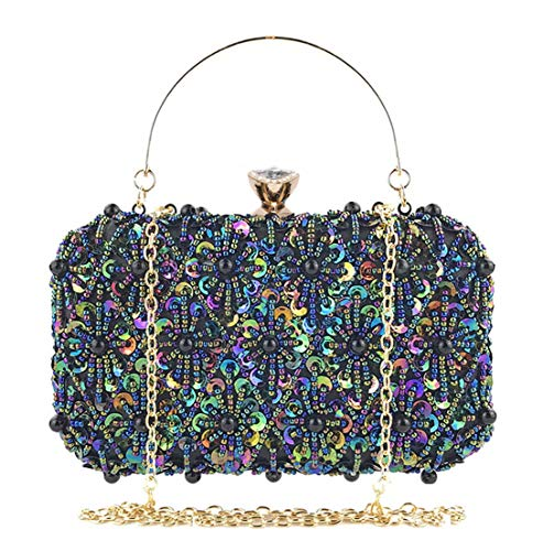 Selighting Sequin Beaded Clutch Evening Bags for Women Formal Bridal Wedding Clutch Purse Prom Cocktail Party Handbags (One Size, Colorful-Black)