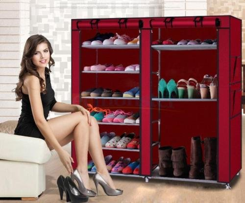 Rack Shelf Shoe Closet Storage Organizer Boot Cabinet Portable Double 9 - Boots Stores Leeds