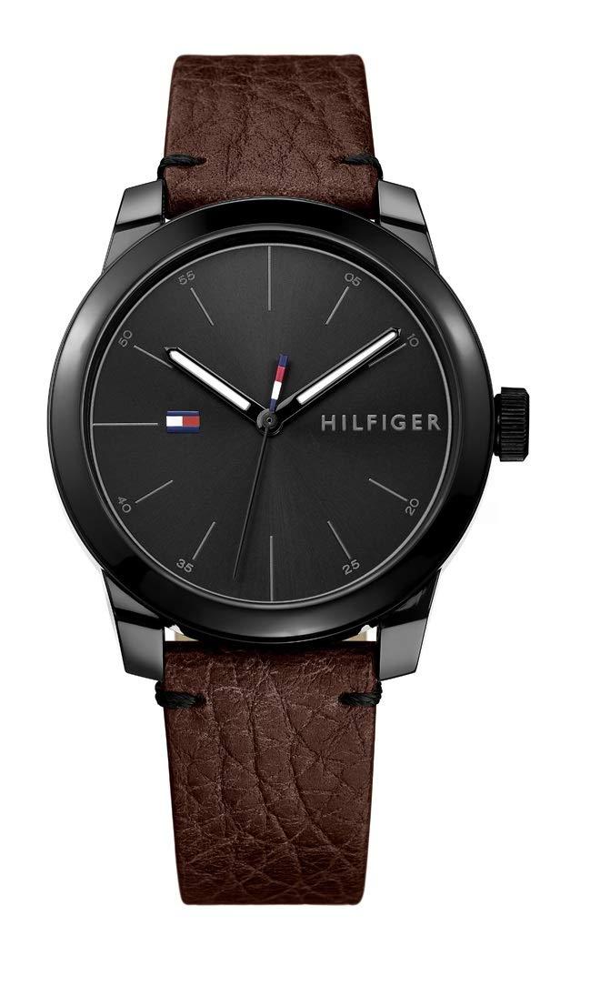 Tommy Hilfiger Men's Quartz Watch with Leather Calfskin Strap, Brown, 20 (Model: 1791383) by Tommy Hilfiger