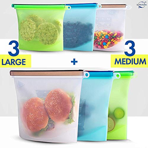 Silicone Bags Reusable Silicone Food Bag Reusable Sandwich Bags Reusable Ziplock Bags Silicone Storage Bags Silicon Containers Plastic Conteiner Freezer Gallon Size Zip Snack Lunch Sous Vide