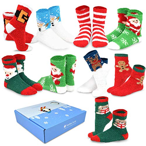 TeeHee Winter Holiday Cozy Fuzzy Fluffy Fun Slipper Socks 9-Pack with Gift Box (Christmas Holiday)]()