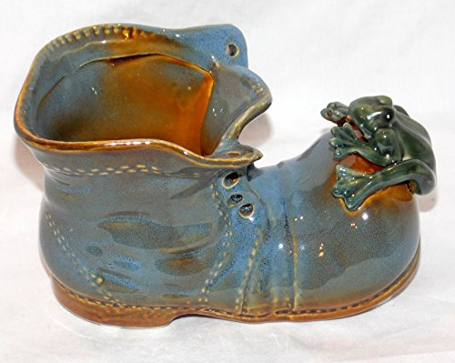 Tree Bamboo Blue (Blue Unlaced Shoe Boot with Tree Frog on Toe Pen Pot Plant Pot Bamboo Holder Multi Use)