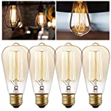 4 Pack - Gcepls Antique Style Edison Light Bulb Bushwick ST64 40W Vintage Squirrel Cage Dimmable Filament Clear Glass Light Lamp Bulbs