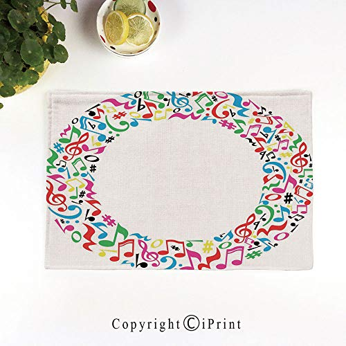 (Heat-Resistant Placemats,Stain Resistant Anti-Skid Washable Table Mats Woven Vinyl Placemats,O Character Capitalized with Collection of Multicolored Musical Elements Alphabet Decorative,Multicolor)