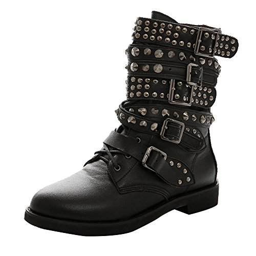 AOOAR Women's Studded Strappy Flat Short Boots