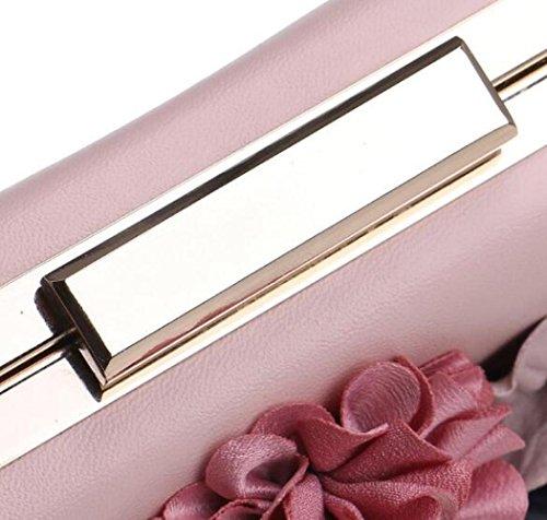 Cadeau À Main Pochette Pour Femmes Pink Prom Fleur Enveloppe À Clubs à Bandoulière Mariage Nuptiale Soirée Sac Sac Dames Sac Perle Main RSwgBwq7W