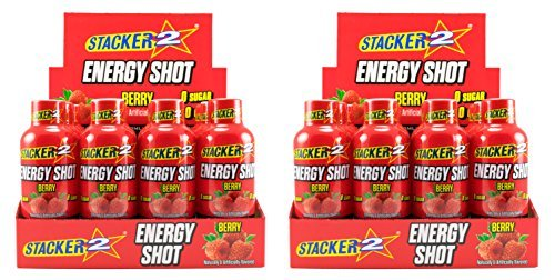 Stacker 2 Energy Shots, Berry, 24 Shots 2oz. Bottle by STACKER 2