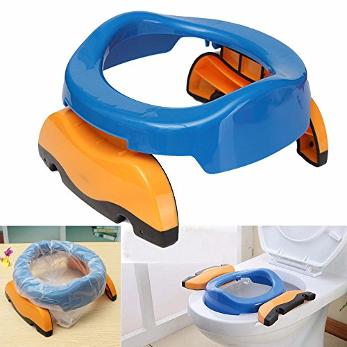 Baby Potty Training 2 in 1 Toilet Training seat & Seat Cover Foldable Travel Potties Blue Color for Boy age 2 years and Up to 60lbs