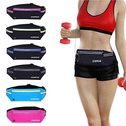 GEARWEAR Running Runners Belt for iPhone 7 8 Plus X . Reflective Water Resistant Cell Phone Holder Waist Pack Fanny Bag for Workout Sports Walking Fitness Exercise