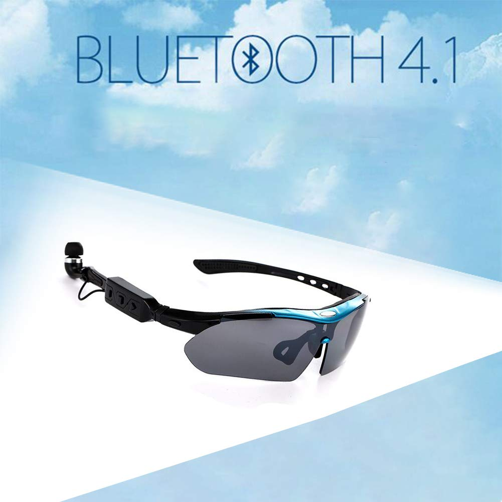 HKYMBM Polarized Sports Sunglasses, Bluetooth Smart Sports Glasses Include 5 Interchangeable Lenses and Stereo Microphones, Compatible with iOS, Android, Samsung, Etc
